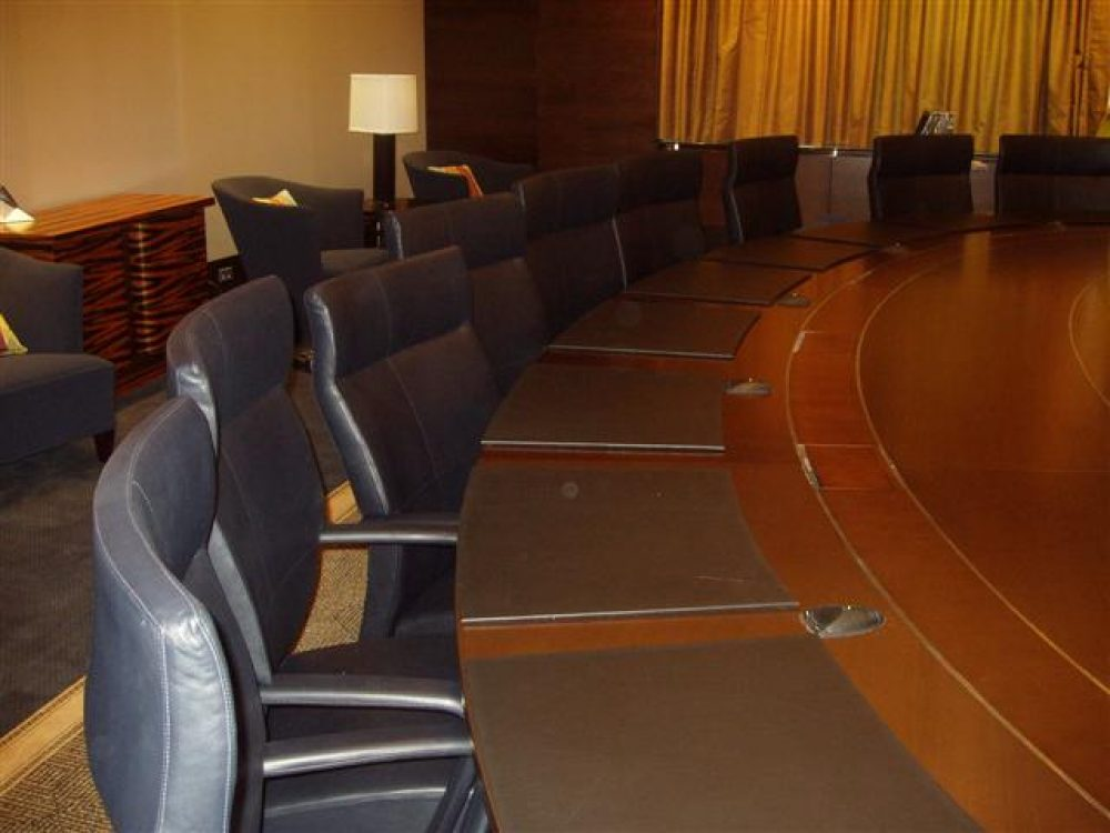 Meeting room with desk mats
