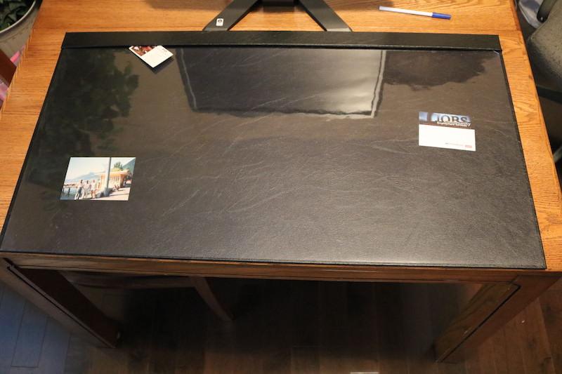 Clear plastic overlay desk mat