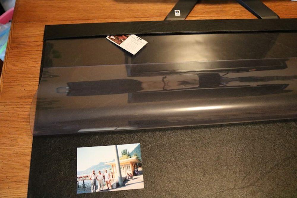 Clear overlay desk folded back