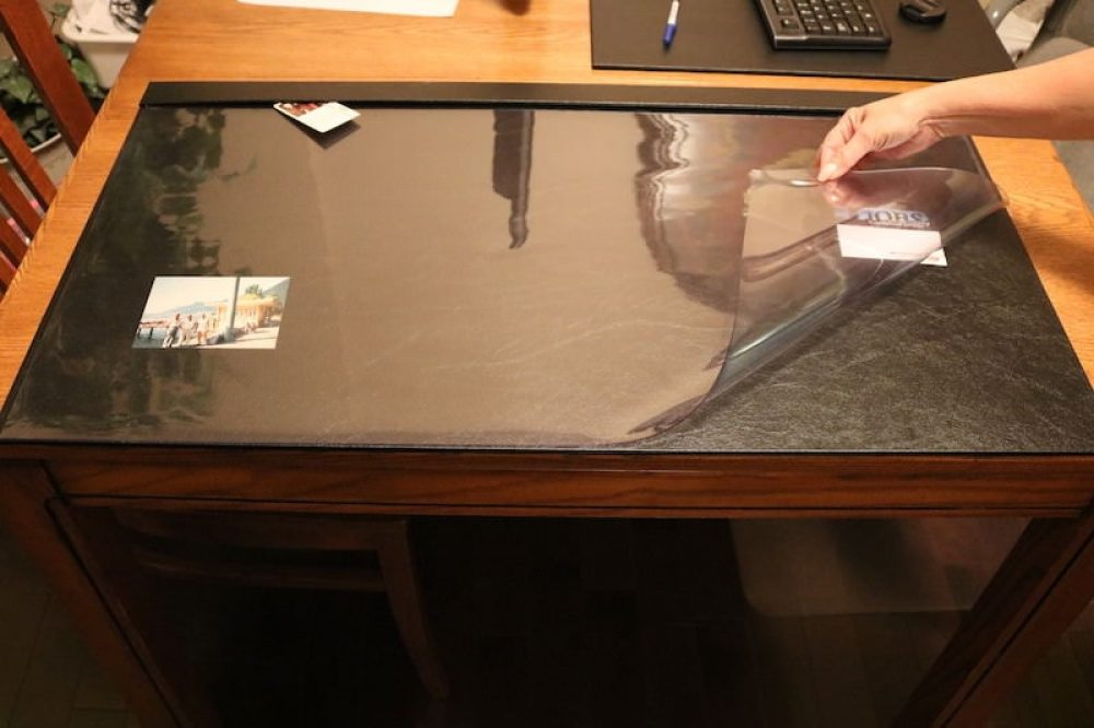 Clear overlay desk protection